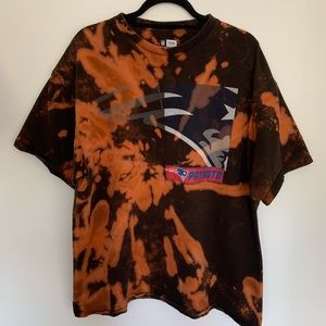 NFL Tops - New England Patriots Football Bleached Tie Dye Tee